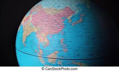 continents, pays, autour de, globe tournant, métrage