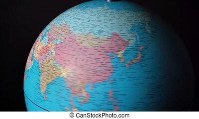 continents, pays, autour de, rotation, métrage, sphère