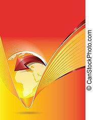 continents, résumé, arrière-plan orange, vecteur