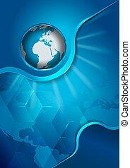 continents, résumé, globe bleu, fond, vecteur