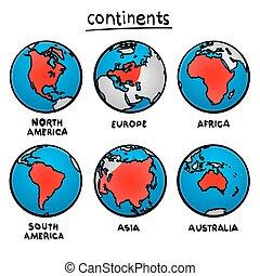continents., schizzo, disegno
