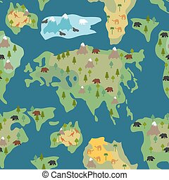 Detailed world map with animals highly detailed world map continents seamless pattern world map is endless ornament geographical atlas with flora and fauna gumiabroncs Choice Image