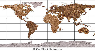 continents - Continents from bronze-coloured stones with...
