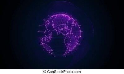 continents, technologie, cyber, animation., planète, edges., tourner, numérique, 3d, clouds., animation, résumé terre, lueur, looping., globe, seamless, données, grand, briller, accented, bleu