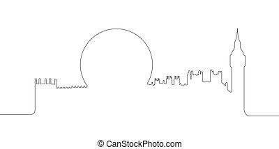 Continous line skyline of London