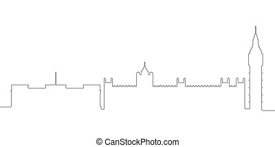 Continous line skyline of London