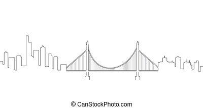 Continous line skyline of San Francisco