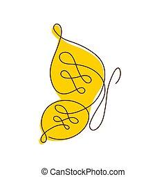 continu, bannière, formulaire, carte, affiche, flyer., moderne, une, insecte, dessin ligne, logo, butterfly.