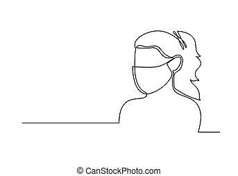 continu, dessin ligne, monde médical, figure, mask., une