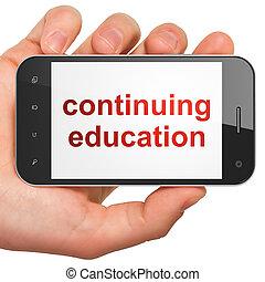 continuar, smartphone, educación, concept: