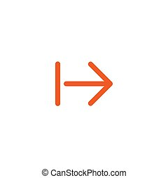 Continue icon. red thin right arrow icon. Isolated on white. Next sign.