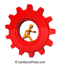 Orange cartoon character in the red gear wheel. White background.