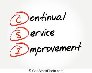 continuo, mejora, siglas, csi, concepto de la corporación mercantil, -, servicio
