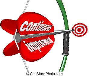 continuo, miglioramento, arco, freccia, costante, meglio,...