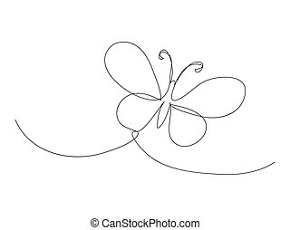 Continuous butterfly line drawing stock vector illustration
