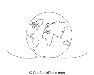 Continuous Earth line drawing stock vector