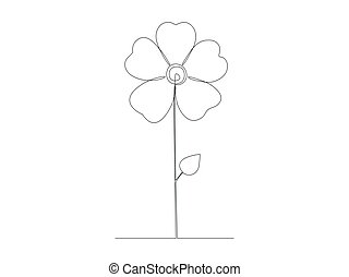 Continuous flower line drawing stock vector illustration