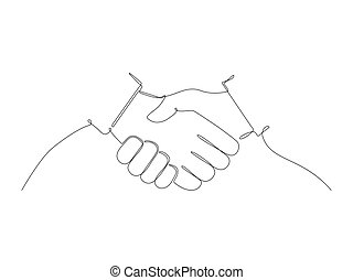Continuous handshake line stock vector