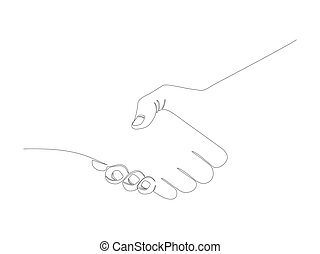 Continuous handshake line stock vector illustration
