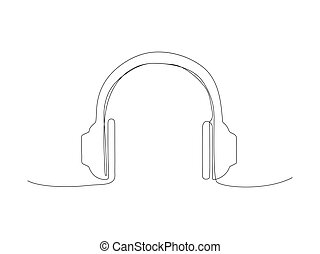 Continuous headphone line stock vector illustration