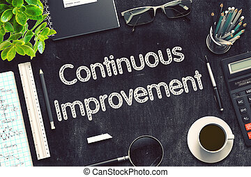 Continuous Improvement on Black Chalkboard. 3D Rendering. -...