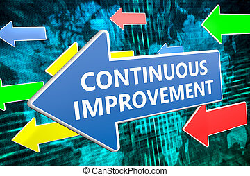 Continuous Improvement - text concept on blue arrow flying...