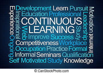 Continuous Learning Word Cloud on Blue Background