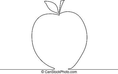 Continuous line apple on white background. Vector illustration.