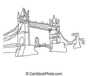 continuous line art drawing sketch of Tower Bridge, London