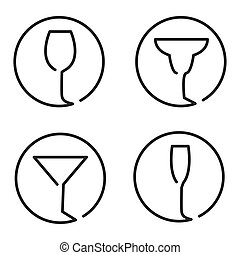 Continuous line art logo set of different glasses, wine, ...