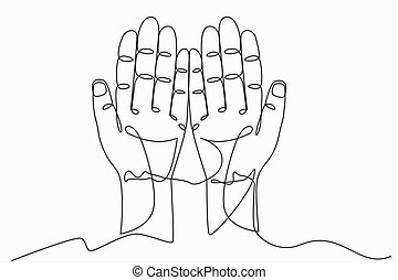 Continuous line art or One Line Drawing of prayer hand ...