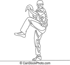 Continuous line baseball player pitcher going to throw the ball
