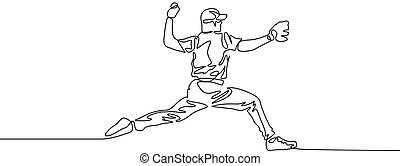 Continuous line baseball player pitcher throw the ball