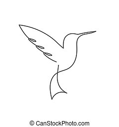 Continuous line bird White one line drawing - Continuous ...