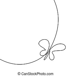 Modern Continuous Line Butterfly One Drawing Of Insect Clip