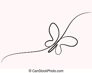 Continuous one line drawing. Flying butterfly logo. Vector illustration. Concept for logo, card, banner, poster flyer