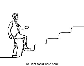 Continuous line drawing a man climbs the stairs. Vector illustration.