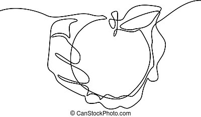 Continuous line drawing Apple in hand. Vector illustration.