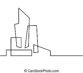 Building Cityscape Line Art Silhouette.