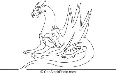 continuous line drawing dragon