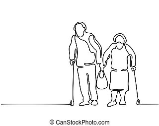 Happy elderly couple walking with bag - Continuous line...