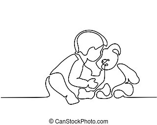 Little boy sitting with teddy bear - Continuous line...