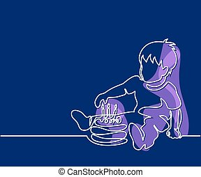 Little boy with birthday cake