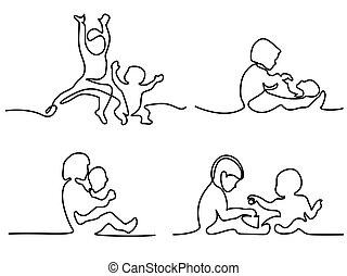 Logo set. toddler playing with baby