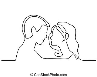 Man and Woman silhouettes in love