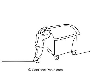 Man push garbage can - Continuous line drawing. Man push...