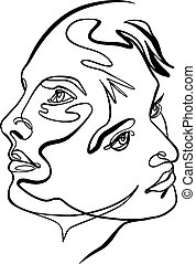 Continuous line drawing of couple faces