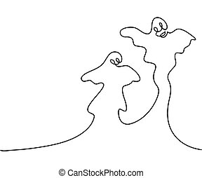 Continuous line drawing of Ghost Cartoon Halloween