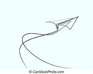 Continuous line drawing of paper airplane