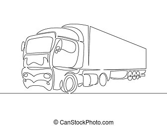 continuous line drawing of Pickup truck transport vector illustration simple concept.